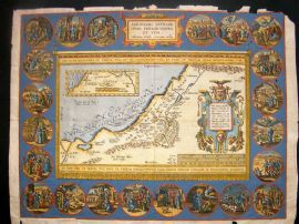 Ortelius 1624 Hand Col Holy Land Map. Wanderings of Abraham